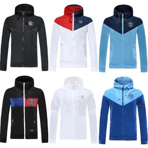 Paris Mbappe fermeture éclair de football coupe-vent Olympique de Marseille manteau veste à manches longues 2020 21 AJ sports d'hiver football sweat à capuche coupe-vent