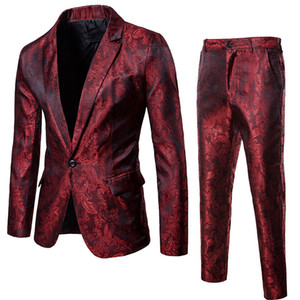 Wine Red Nightclub Paisley Suit (Jacket + Pants) Uomo 2018 Moda monopetto Mens Abiti Stage Party Wedding Tuxedo Blazer 3XL C18122501