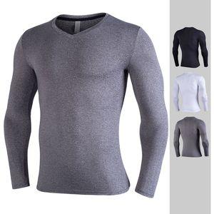 dos homens T-shirt Europa US correndo roupas de fitness de secagem rápida sportswear T-shirt de mangas compridas trecho formação de compressão Magro collants vcbg