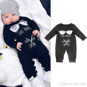 Designer Baby Clothes COOL BABIES DON'T WEAR COLOVRS Printed Baby Boy Rompers Letter Print Girls Jumpsuits Long Sleeve Kids Cothing