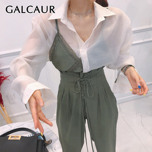 GALCAUR Patchwork Hit Color Two Piece Set Women Lapel Collar Perspective Long Sleeve Shirt Lace Sling Vest Female Suits 2020 New T200702