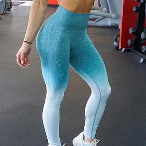 delle donne Zhangyunuo senza saldatura Sport Leggings a vita alta Gradient Yoag pantaloni funzionamento di ginnastica Fitness Sport Calzamaglia