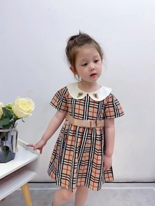 2020 New Children Plaid Princess Dress Girl Cotton Party Dress Kids Baby Short Sleeve Love Heart Embroidered Collar Pleated Dress S242