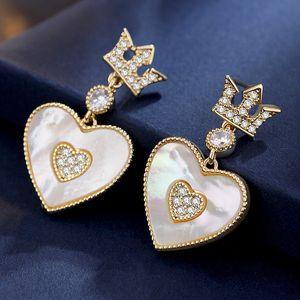 2020 joyería de la manera 925 de la joyería de lujo de diseño de plata pendientes de las mujeres diseñador Pendientes simplicidad corona amor borla Pendientes Volver