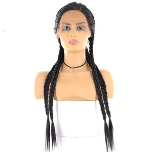 A Braided Wigs Synthetic Lace Frontal Wig For Black Women Cornrow Braids Lace Wigs Box Braids Wig Black Color