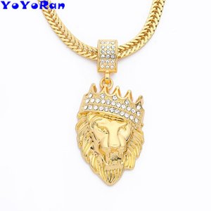 YoYoRan 1 pz cristallo corona leone re collana ciondolo color oro catena lunga animale testa di leone hiphop rock collana di gioielli di fascino
