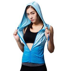 YOGA Kıyafetler Kadın Spor Kolsuz Kapşonlu Tee Fitness Spor T Gömlek Egzersiz Yelek Egzersiz Koşu Giyim Spor Tank Tops Hoody M10