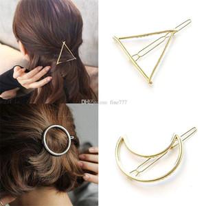 Acessórios de cabelo Grampo de cabelo do metal por Mulheres minimalista Dainty Ouro Prata oco geométrica metal do cabelo clipe hairpin Círculo Triângulo Lua