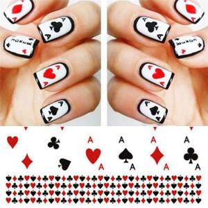 Linge de lit, ongles, Poker, autocollants de transfert d'eau, autocollants, cartes à jouer, Nail design A987