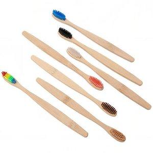 Bamboo escova de dentes macia Adulto arco-íris Environmentally Bamboo punho de madeira Toothbrush Eco-friendly Escova 11 cores KKA7762-1