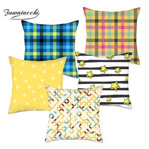 Fuwatacchi Geometric Cushion Cover Orange Yellow Stripe Diamond Wave Pillow Cover for Home Chair Sofa Decorative Pillows 45*45cm
