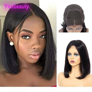 H Peruvian 4x4 Lace Front Wig Straight Bob Wigs 100 %Human Hair 4 *4 Bob Wig Wholesale Natural Color 8 -16inch