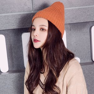 Hat Female Winter Student Korean Fashion Wool Hat Solid Color Warm Autumn and Winter Knitted Hat All-match Cute Cold Female
