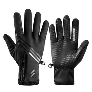 Touch Screen Cycling Gloves Full Finger Workout Anti-slip Running Sports Water Resistant Windproof Warm for Driving Motorcycling Training