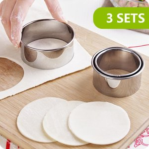 3pcs set Cookie Cutter Cake Cutter Stainless Steel Round Cake Mold Star Biscuit Mould Fondant Cutting Pastry Cutter Dumplings Wrappers