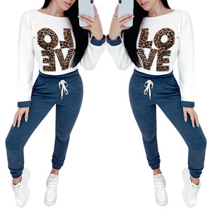 2019 New 2pcs Mulheres Calça Casual Define Treino leopardo letra Camisetas Calças Define Sport Lounge Wear Suit Casual Femme D30