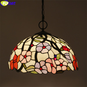 FUMAT Blue Red Pink Orchid Tiffany Pendant Lamp Multi Color Stained Glass Vine Hanging Light Fixture Handicraft Decor Lamps