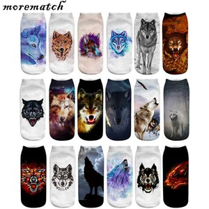 Morematch 1 Çifti Erkekler Bilek Çorap Kurt Desen Pamuk Çorap 3D Baskı Komik Çorap 18 Stil Opsiyonel