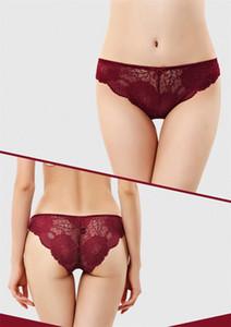 Mulher oco Out Lace Sexy Briefs respirável e senhoras Confortável Underwear cintura baixa Bow Donna Briefs