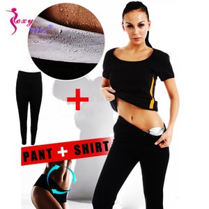 Yelek Bluz Leggings Running Pant Spor Seti Kadınlar Bel Trainer Vücut Şekillendirici PU Gümüş Neopren Sauna Suit + SEXYWG Yoga Gömlek
