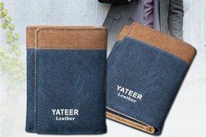Tuval erkek cüzdan üç katlı öğrencinin cüzdan kartı küçük kısa atsks