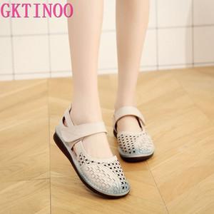 GKTINOO été creux respirants en cuir véritable Sandales femmes Sandales plates confortables Mère Mode Chaussures Femmes
