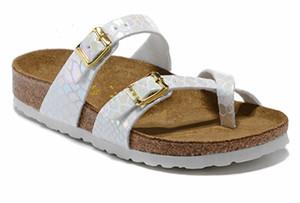 2020 Mayarí flip flop diseñador del verano mujeres de los hombres pisos deslizadores de las sandalias de corcho imprimir mixta playa sandalias de diapositivas de piel EUR34-46
