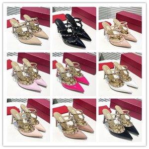 2020 del perno prisionero de sandalias de cuero genuino talón abierto atractivo de las señoras Bombas tacones altos zapatos de moda remaches des Chaussures C11