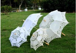 Handmade algodão branco Lace Umbrella Parasol casamento da noiva Decoração Lace Craft Umbrella para Desfile de moda Decoração do partido