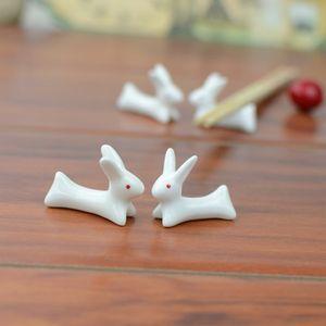 4 pezzi di ceramica sveglio Chopstick Rack Ware bacchette di sostegno della porcellana forcella del cucchiaio Holder 2C