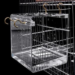 1* Transparent Spacious Acrylic Bath House Cage For Pet Bird Cockatiels Parrots