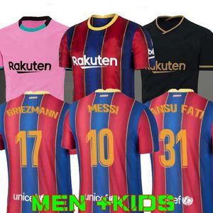 FC BARCELONA maglia da calcio 20 21 camiseta de futbol Ansu FATI 2020 2021 Messi Griezmann De Jong Maillots de la camicia di calcio kit Men + Bambini
