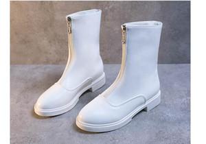 La venta caliente-mujeres botas cortas 2019 nuevos otoño plana negro blanco diseño de la cremallera botas de Martin botas de Corea invertidas Guidi