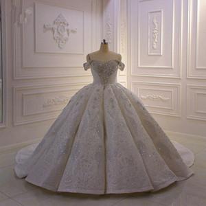 Reale Abbildungen Ballkleid Hochzeit Dresse Weiß weg vom Schulter Luxuxkristallglas wulstigen Saudi Arabian Dubai Brautkleid Plus Size