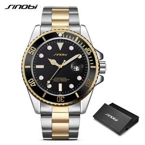 SINOBI Relógios Homens Luxo Negócios Luminous Steel Band Bracelet Relógios Homem Mens Ouro Genebra Quartz Relógios de pulso presente Assista