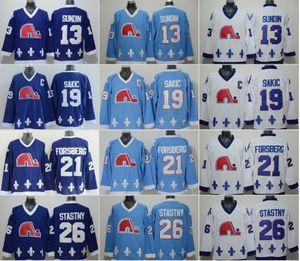 رجل كيبيك Nordiques هوكي الفانيلة 13 ماتس Sundin 21 بيتر فورسبيرج 19 جو Sakic 26 Peter Stastny Jersey Vintage CCM Blue White