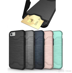 Card Slot Case Armor Case For iPhone X XS MAX XR 8 7 6 Plus 9 Samsung Galaxy S9 S8 A8 Hard Cover Cases Rugged Phone with Holder Kickstand