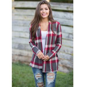 1PC Klasik Ekose Gömlek Sıcak Kadın Fanila Ekose Gömlek Modelleri Casual Gevşek Hırka Bluz Coat Moda Bayanlar Tops