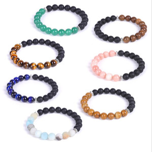 8mm Matted Black Stone Tiger's Eye Beads Natural Stone Strand Essential Oil Bracelet Fashion Men Women Jewelry Pulseira Jewelry