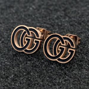 qualidade New Top Hot Marca Brincos Designer luxuosos para Charms Mulheres Rose ouro G Brincos Inoxidável Ear Aço Studs frete grátis presente