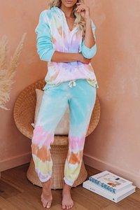 Üst Kalite İçin Pijama tiedye İçin Kadınlar pigiama Da Donna Başına Girocollo Tye Boya Kısa Mor Işık Batik Astroworld Gömlek Askeri sweet07