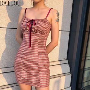 DAILOU Plaid Mini Robe Femmes Spaghetti Strap Bow été adolescente robe de style Lady Casual courtes vacances 2020 Nouveau