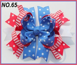 free shipping 12pcs Newest 4th of july hair bows Girl boutique hair bows Patriotic Bows fourth of july
