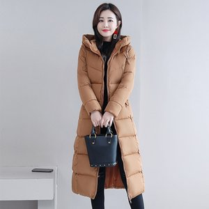 Damen Winter Kapuzen Lang Parka Plus Size 4XL Slim Warm Mäntel Jacken Damen 2019 Elegant Cotton Padded Jacket Outwear Ladies SH190901
