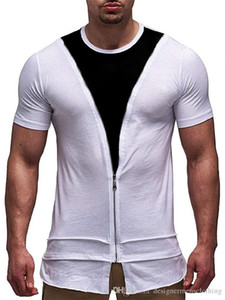 Panelled Contrast Color O-Neck Mens Tshirts With Zipper Short Sleeve Black And White Skinny Mens Tops