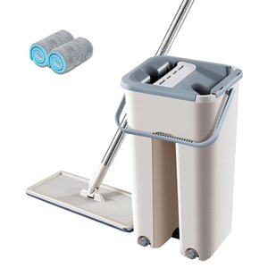 Hot Selling Mops with Bucket Hands Free Flat Mops Squeeze Self Wet and Dry Cleaning Microfiber For Floor Cleaning