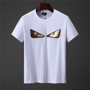 2020ss Firma camiseta de París Europa bordado Imprimir letra de la manera hombre de las camisetas de los hombres ocasionales de las mujeres ropa de algodón T-Tops FG9571