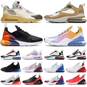 Nuove nike air max 270 react travis scott shoes scarpe da corsa da donna per uomo Photo Blue Red Orbit triple nero bianco Wolf Grey Barely Rose sneaker sportive per uomo all'aperto