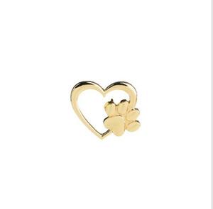 L'amour Pet coeur avec amour Brooches minuscule animal de compagnie Pawprint Broche breloque chat chien empreinte épinglette en or plaqué argent
