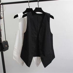Chaleco femenino de algodón de lino de verano de alta calidad a la moda de gran tamaño breve con cuello en V chaleco de mujer abrigo sin mangas casual para mujer chaleco